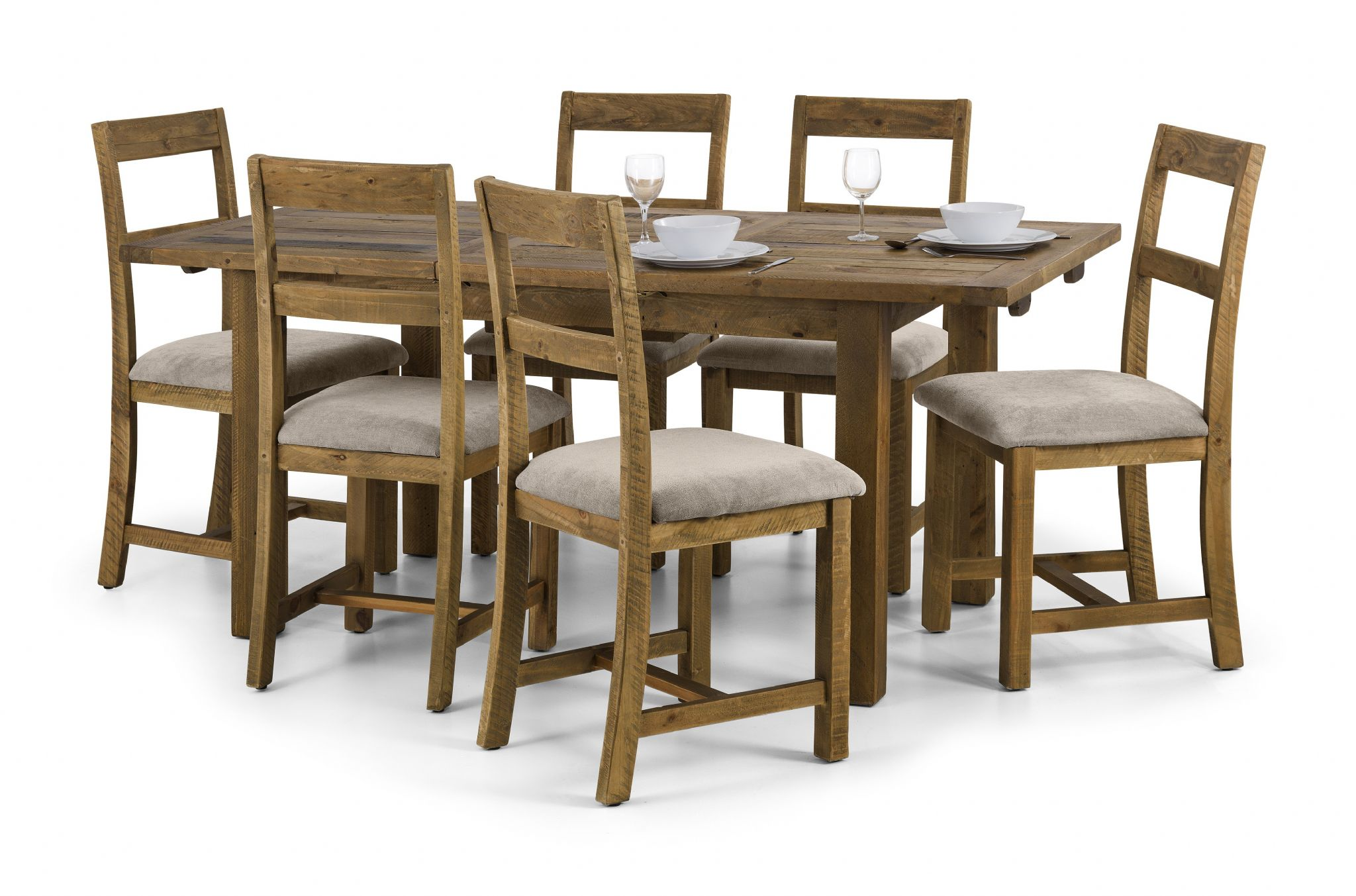 Cordoba solid reclaimed pine extending dining table jb